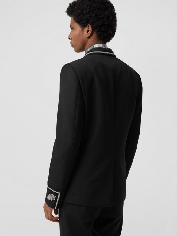 Slim Fit Bullion Wool Double-breasted Jacket in Black - Men | Burberry - cell image 1