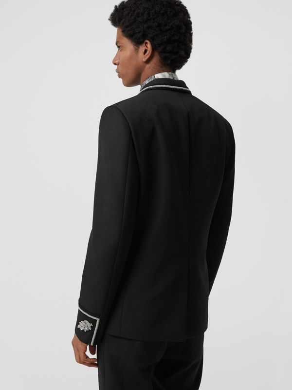Slim Fit Bullion Wool Double-breasted Jacket in Black - Men | Burberry - cell image 2