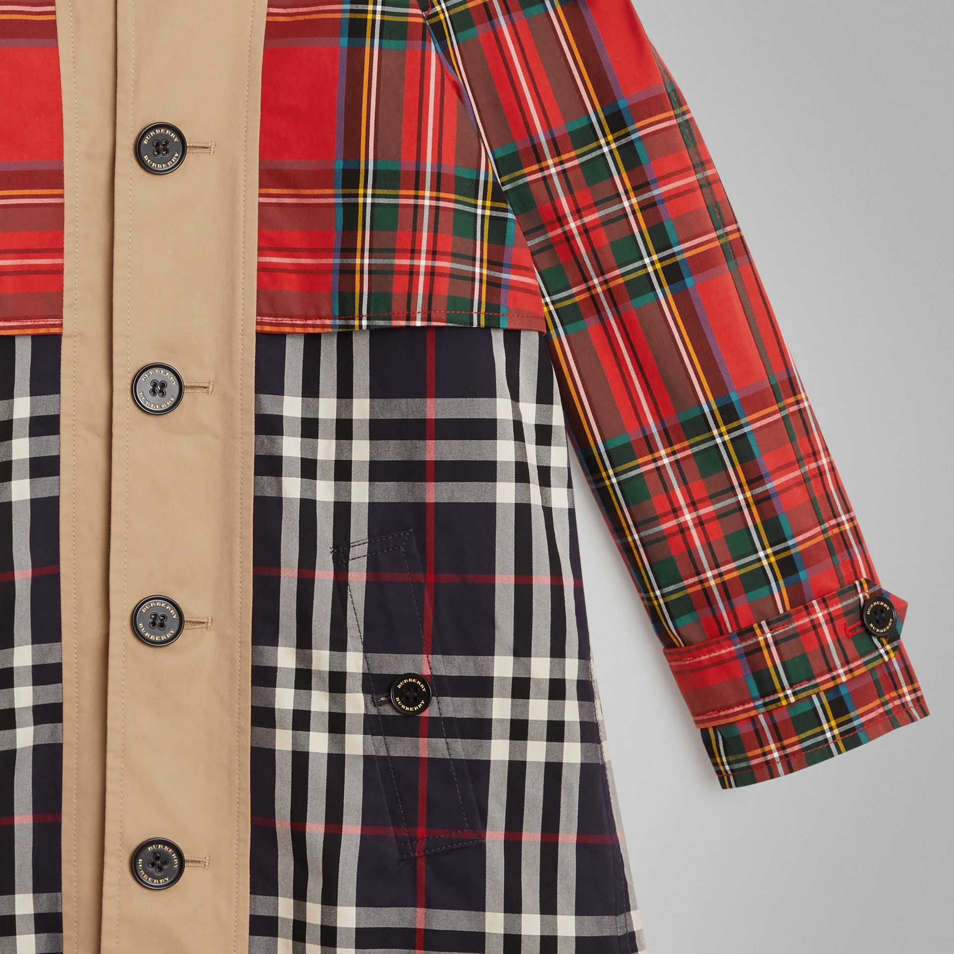 Tartan and Check Tropical Gabardine Coat in Navy | Burberry United States - gallery image 5