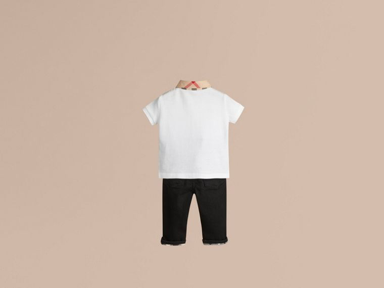 White Check Collar Polo Shirt White - cell image 2