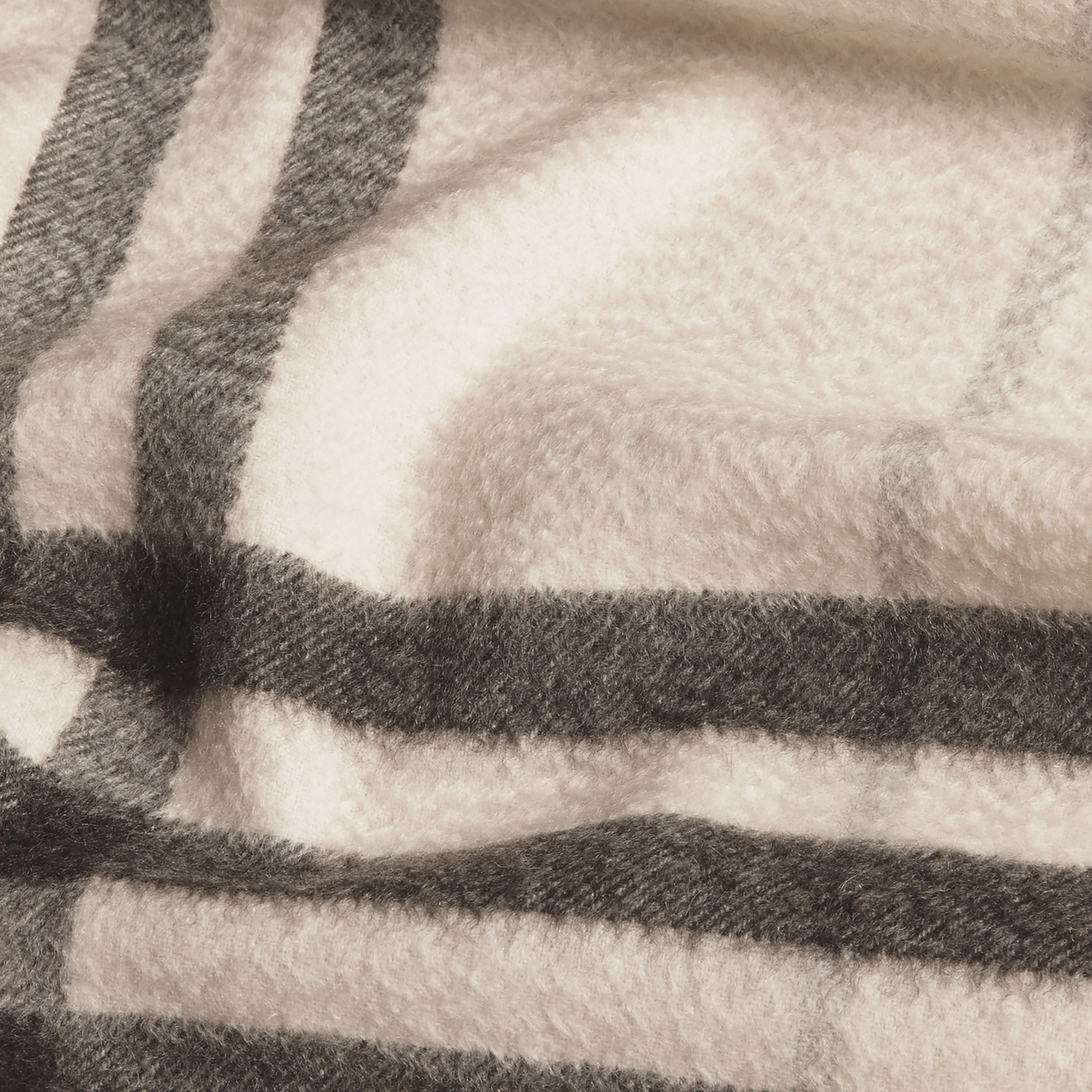 Natural white check The Classic Cashmere Scarf in Check Natural White - gallery image 5