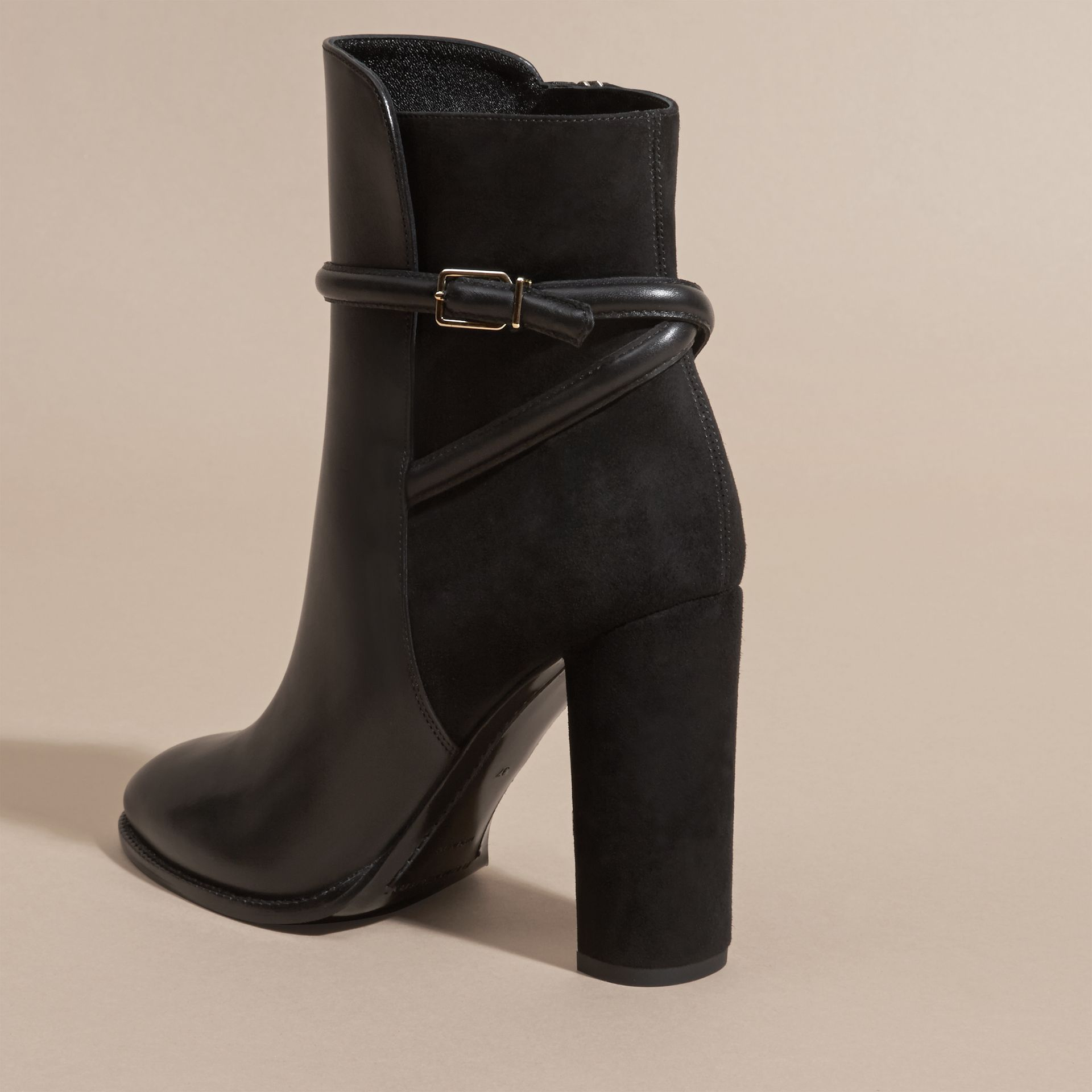Black Strap Detail Leather and Suede Ankle Boots Black - gallery image 4