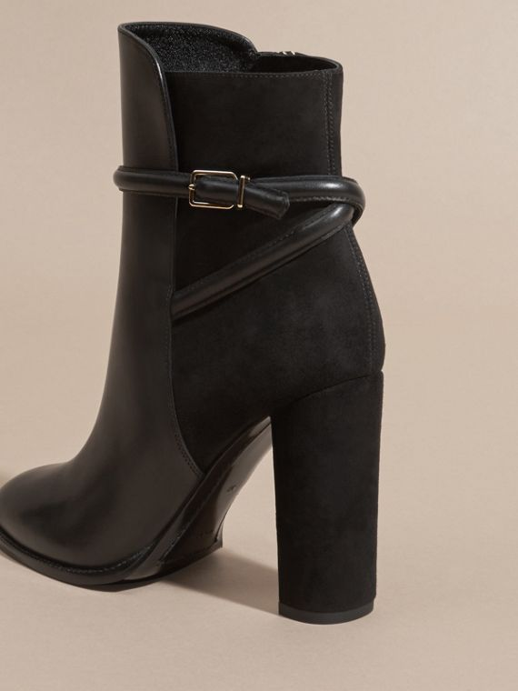 Black Strap Detail Leather and Suede Ankle Boots Black - cell image 3