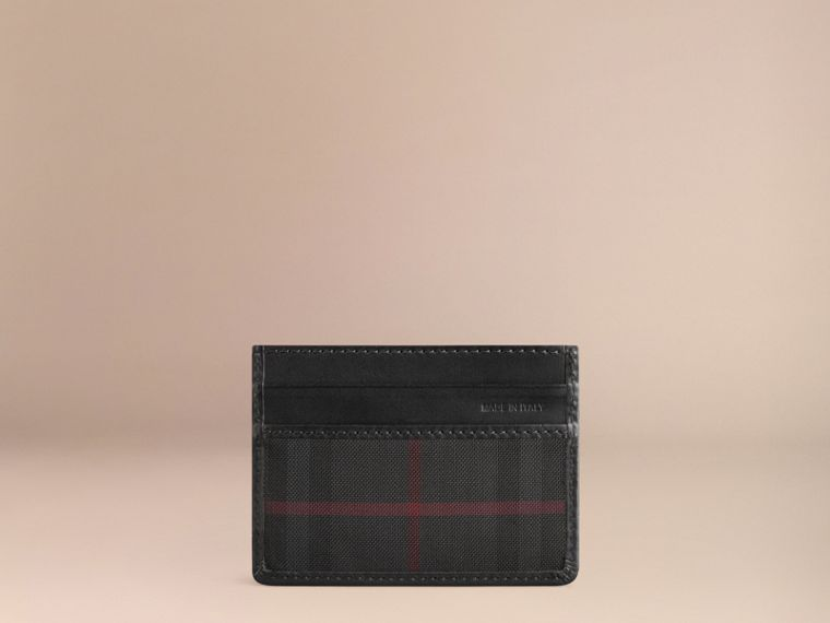 Horseferry Check Card Case in Charcoal/black - cell image 2