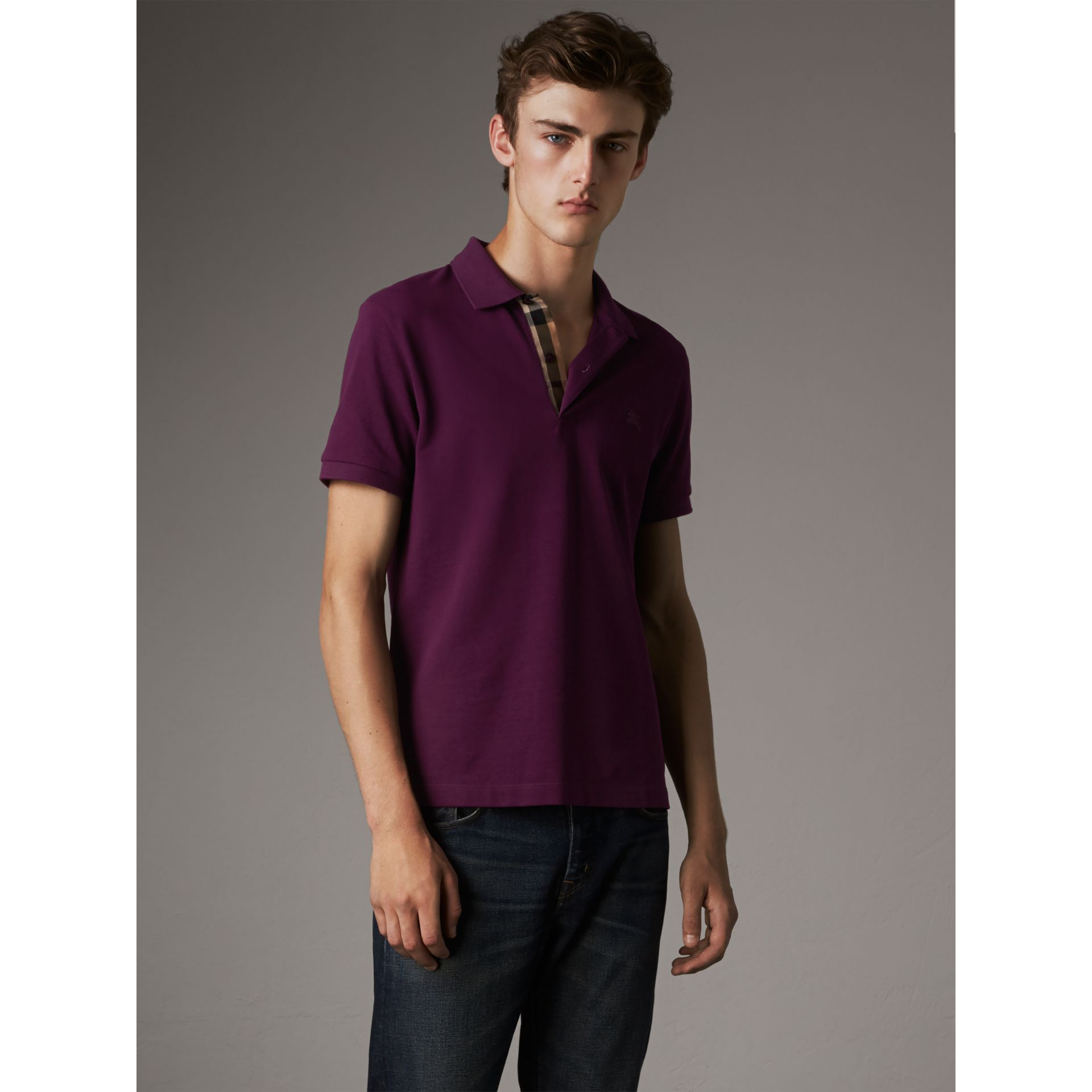 Check Placket Cotton Piqué Polo Shirt in Deep Purple Amethyst - Men | Burberry - gallery image 5