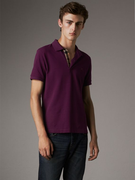 Check Placket Cotton Piqué Polo Shirt in Deep Purple Amethyst
