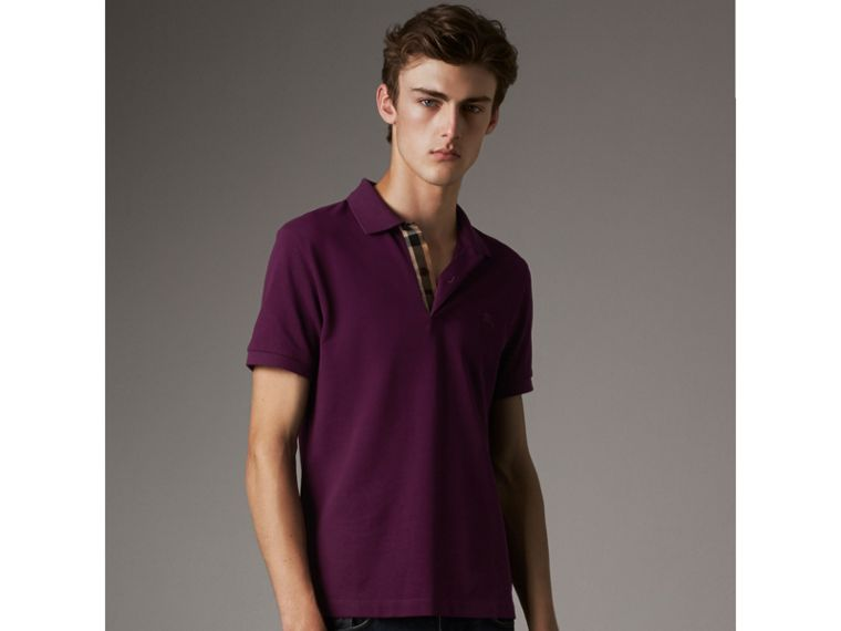 Check Placket Cotton Piqué Polo Shirt in Deep Purple Amethyst - Men | Burberry - cell image 4