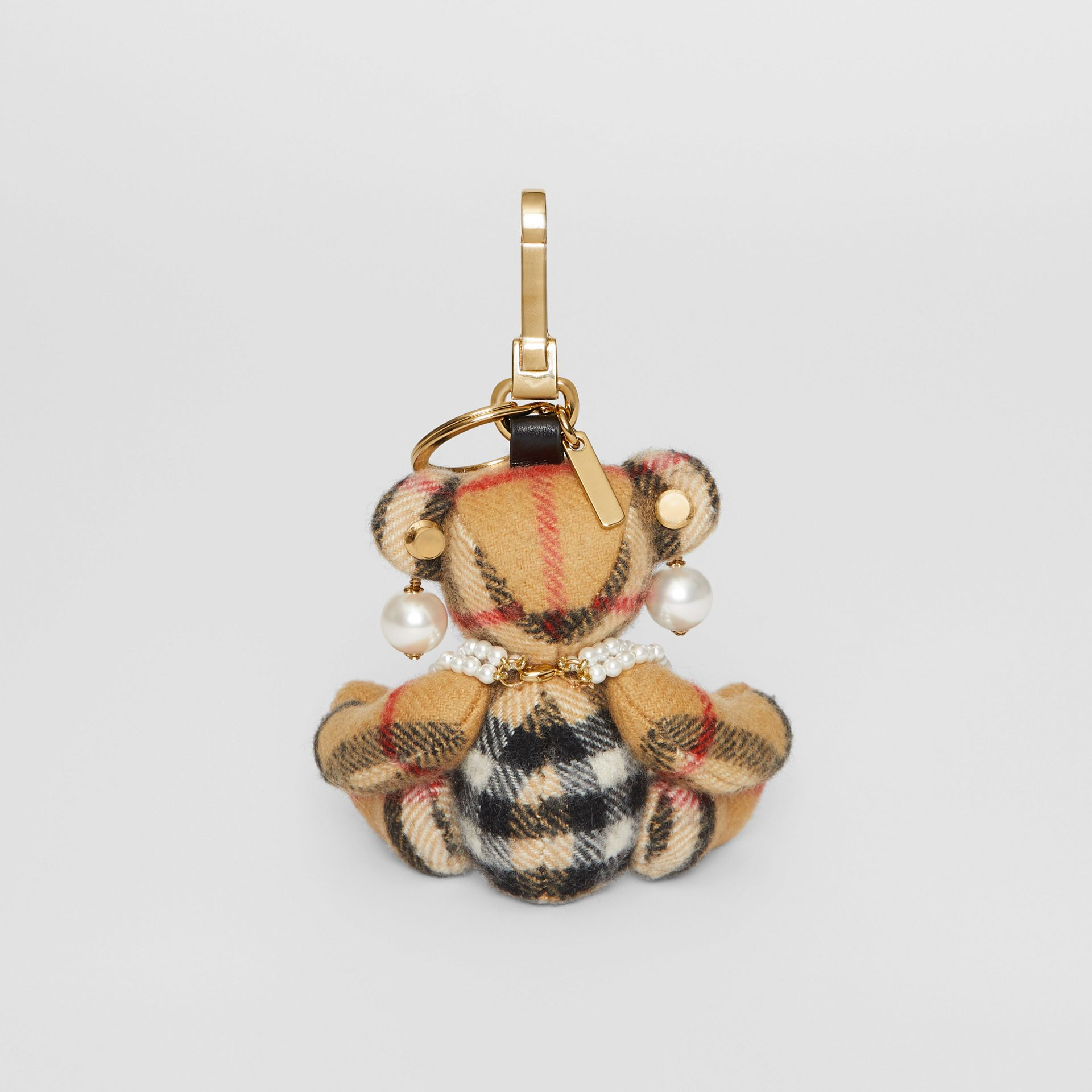 Thomas Bear Charm with Faux Pearls in Antique Yellow - Women | Burberry Australia - gallery image 3