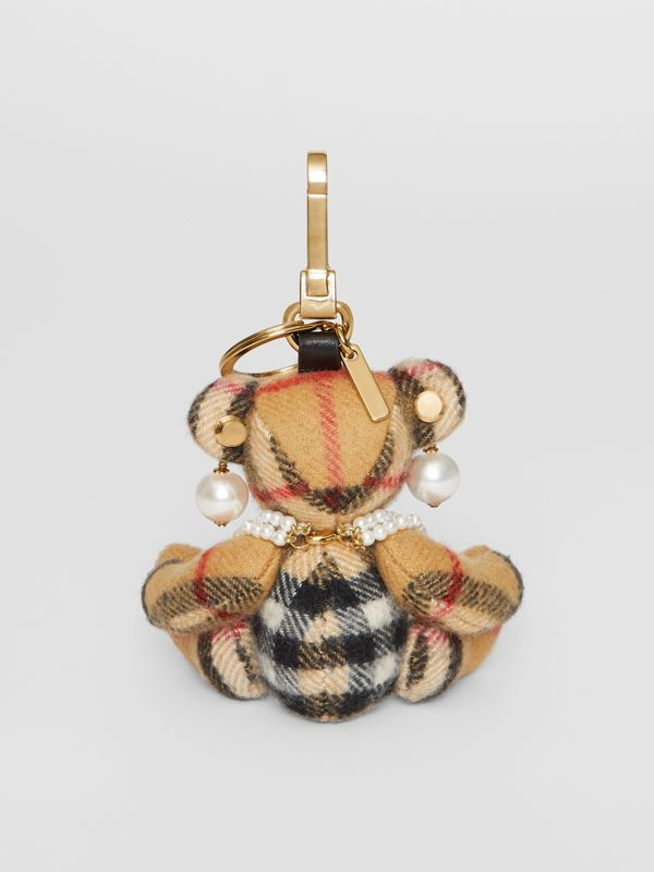 Thomas Bear Charm with Faux Pearls in Antique Yellow - Women | Burberry - cell image 3