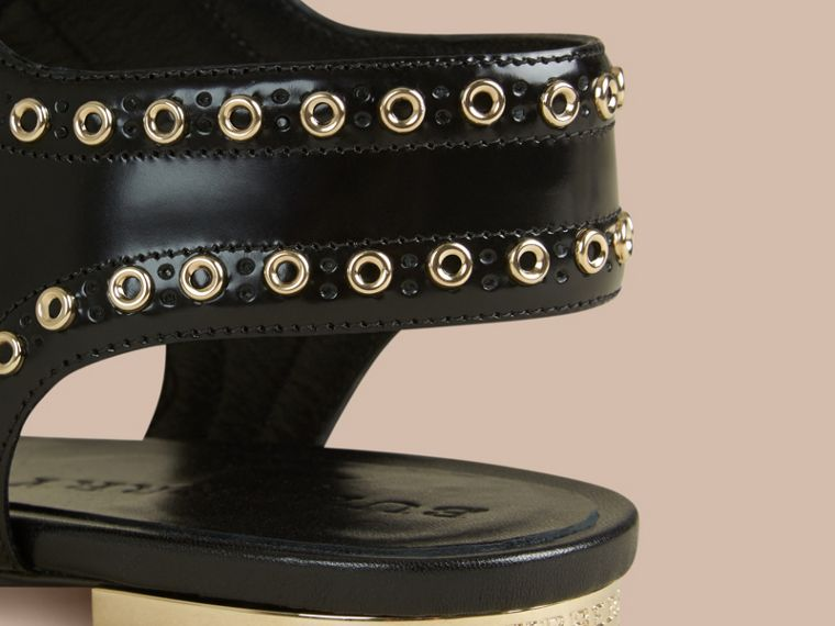 Black Online Exclusive Eyelet Detail Leather Lace-up Sandals - cell image 1