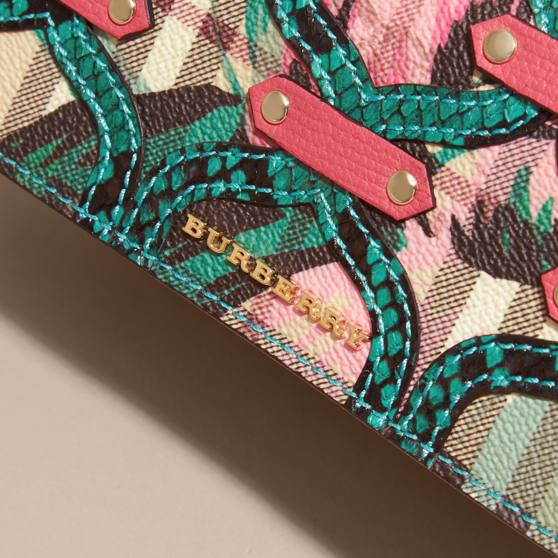 Mineral blue Snakeskin Appliqué Peony Rose Print Haymarket Check Continental Wallet Mineral Blue - gallery image 2
