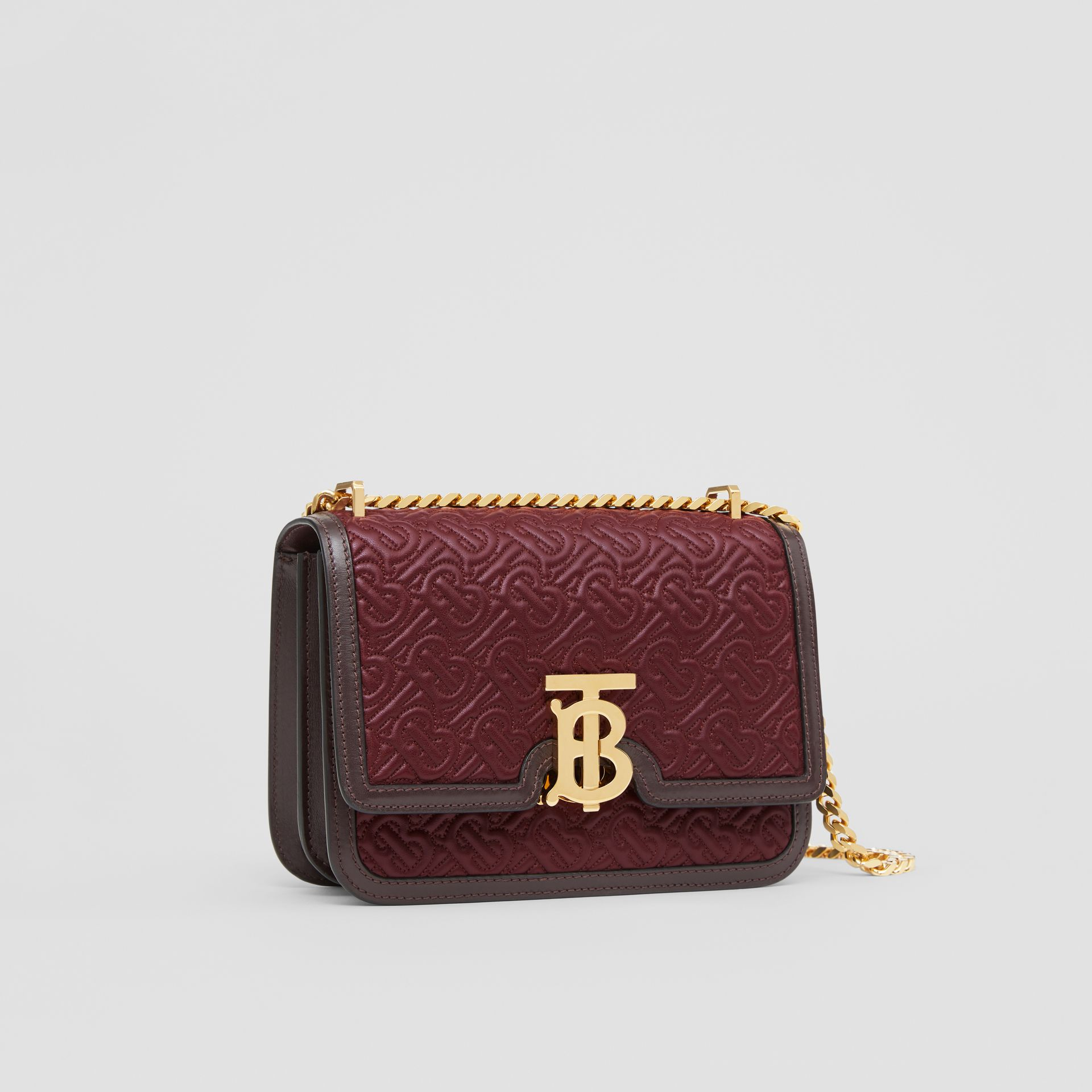 Small Quilted Monogram Lambskin TB Bag in Dark Burgundy - Women | Burberry - gallery image 6