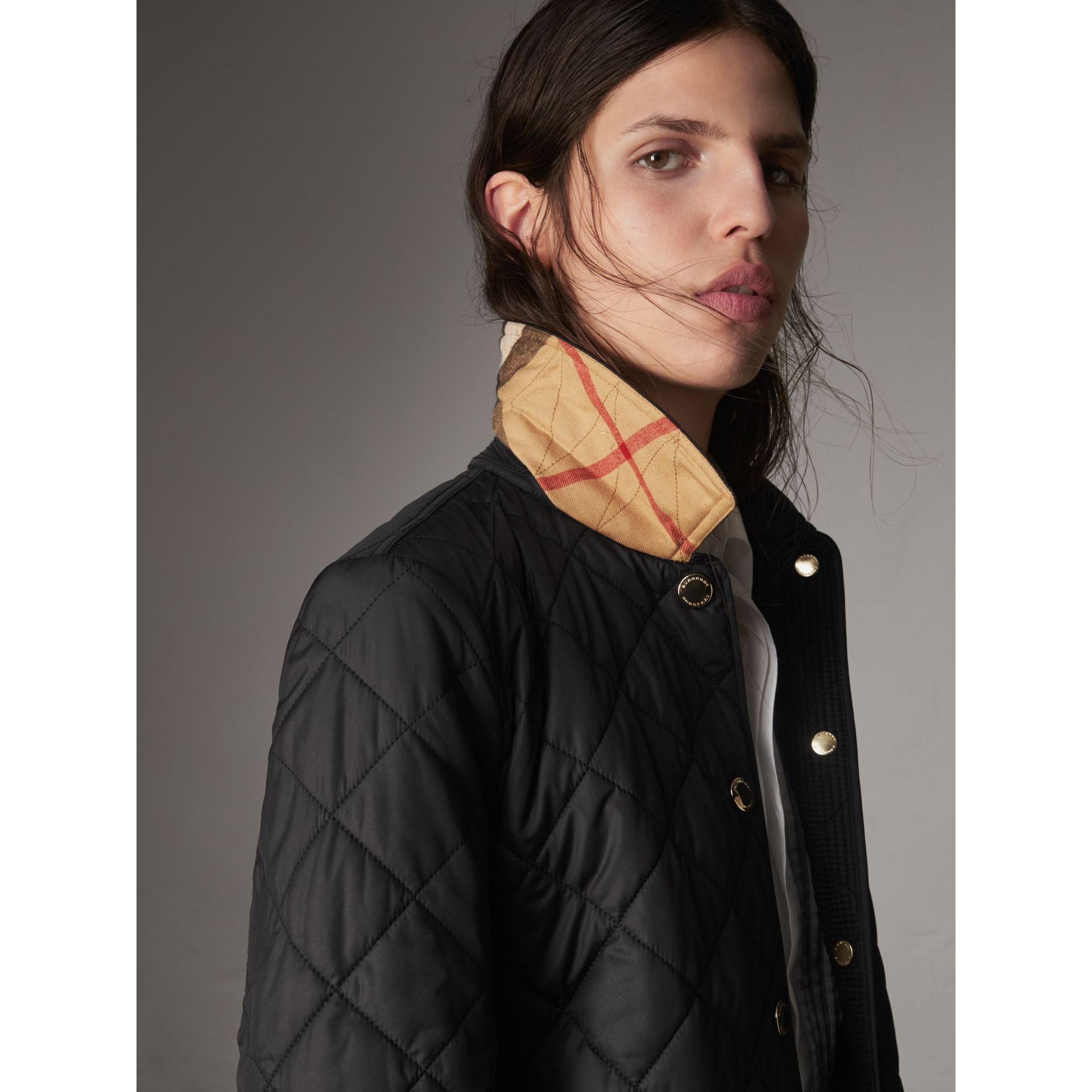 Check Detail Diamond Quilted Jacket in Black - Women | Burberry Australia - gallery image 2