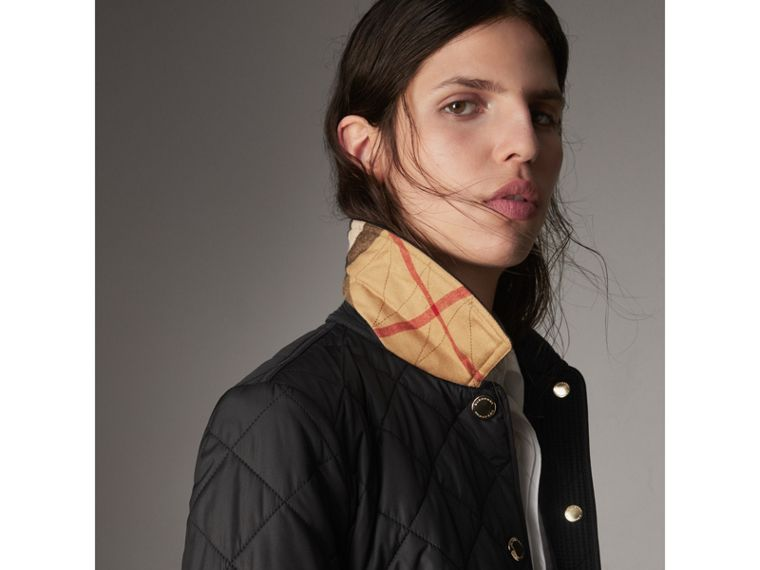 Check Detail Diamond Quilted Jacket in Black - Women | Burberry - cell image 1