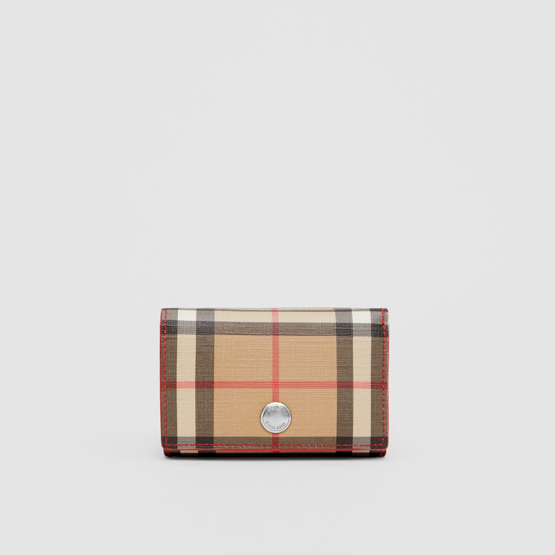Small Vintage Check E-canvas Folding Wallet in Bright Military Red - Women | Burberry - gallery image 4