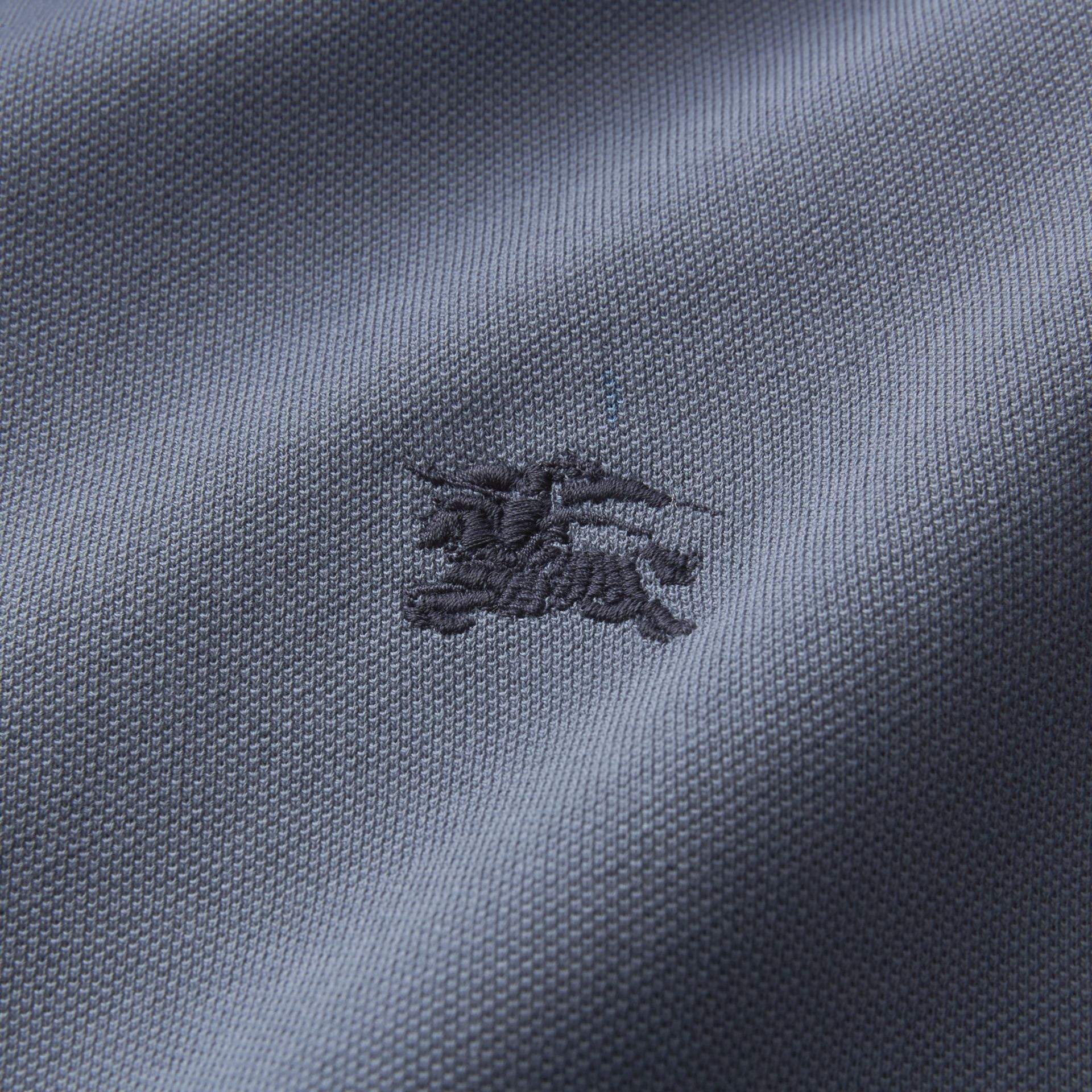 Two-tone Check Placket Cotton Piqué Polo Shirt in Stone Blue - Men | Burberry - gallery image 2