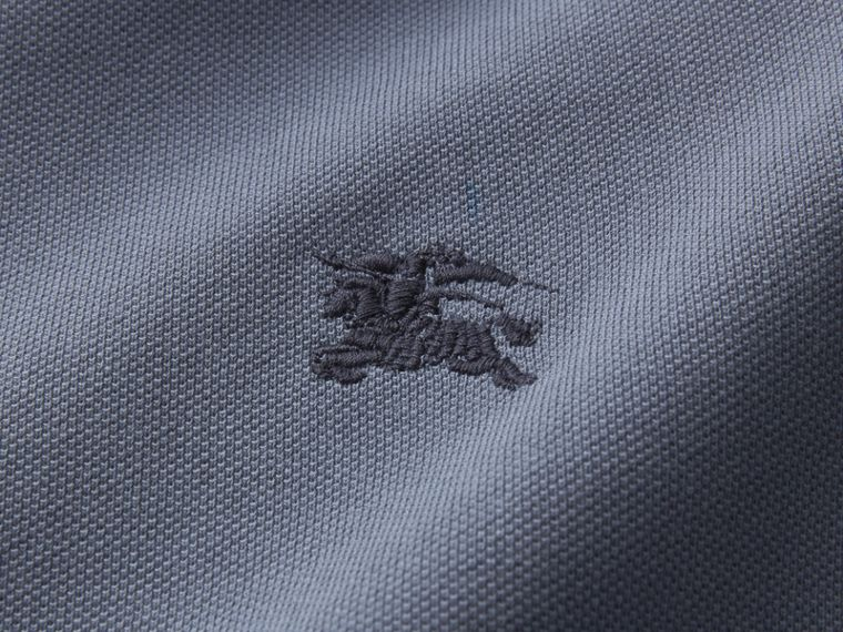 Two-tone Check Placket Cotton Piqué Polo Shirt in Stone Blue - Men | Burberry - cell image 1