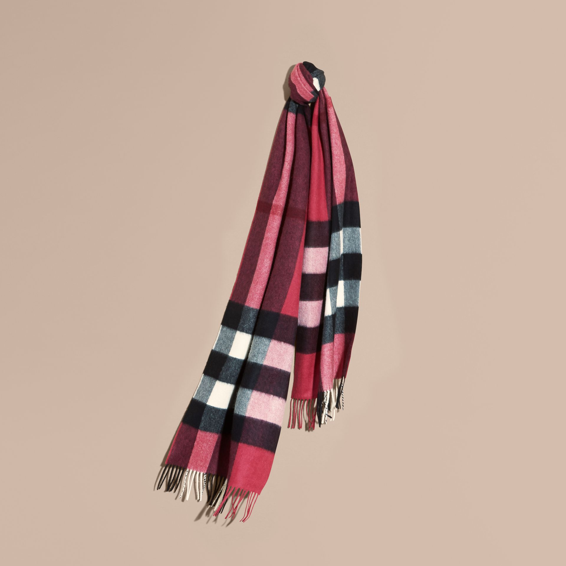 The Large Classic Cashmere Scarf in Check Fuchsia Pink - gallery image 6