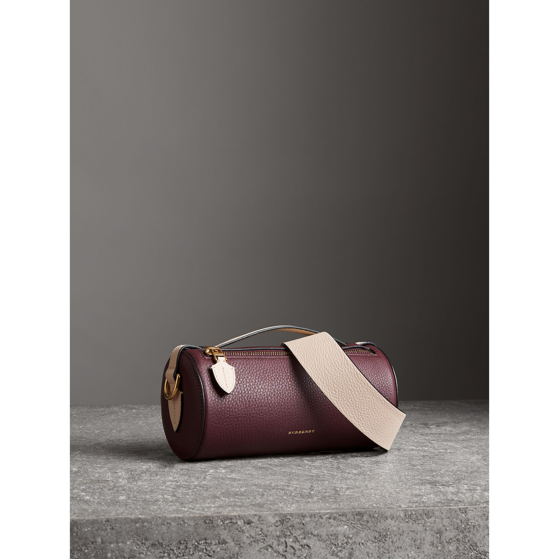 The Leather Barrel Bag in Deep Claret/limestone - Women | Burberry - gallery image 6