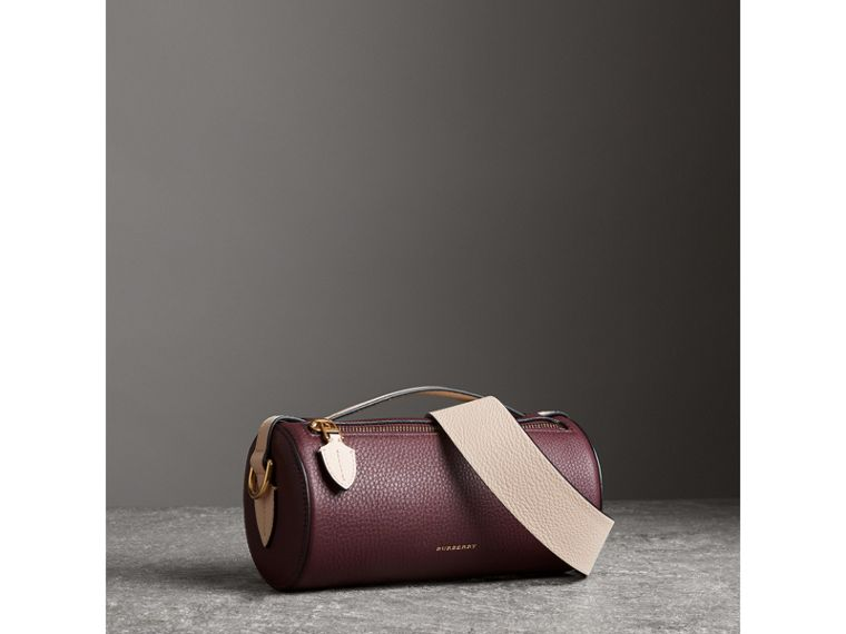 The Leather Barrel Bag in Deep Claret/limestone - Women | Burberry - cell image 4