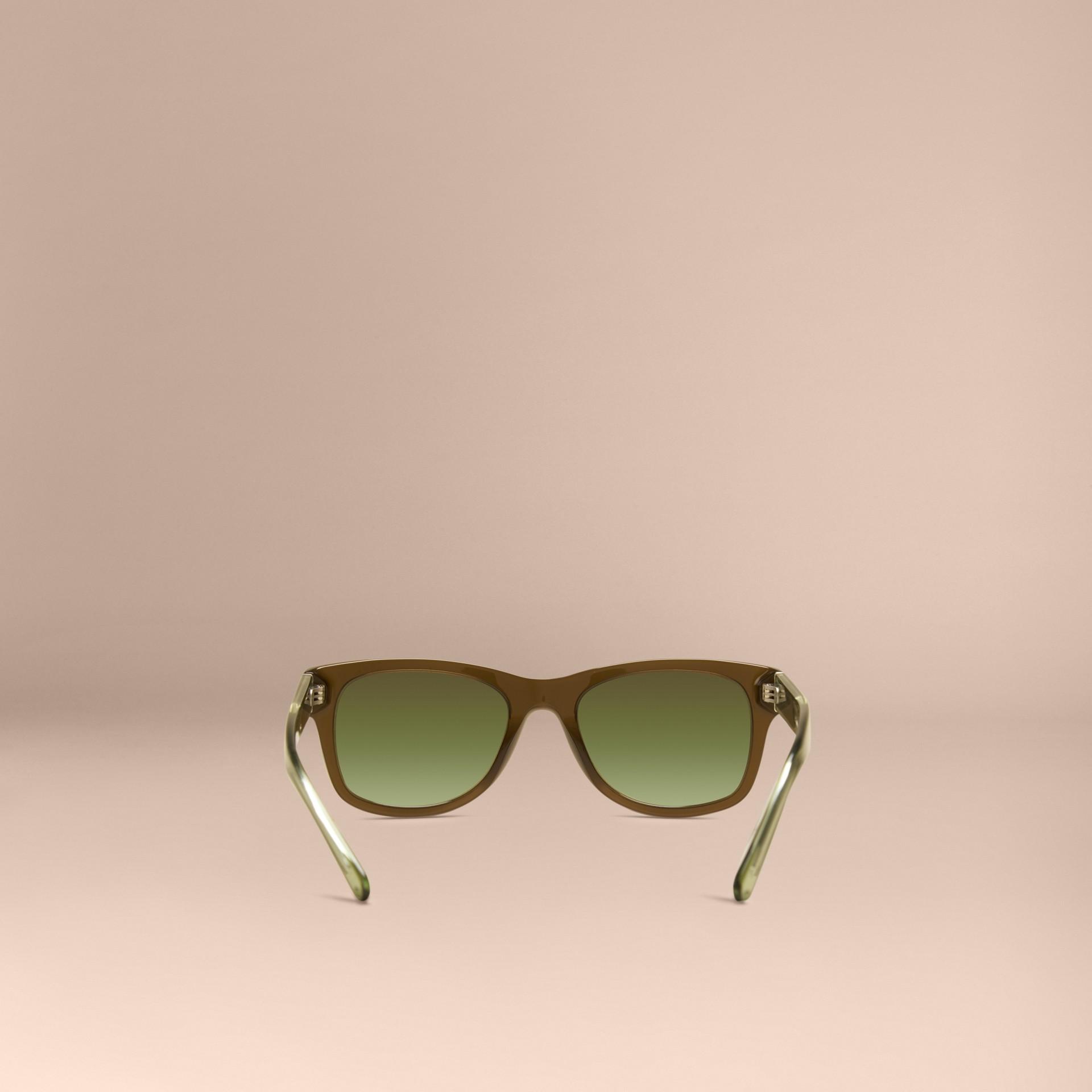 Verde oliva Óculos de sol com armação quadrada e detalhe xadrez Verde Oliva - galeria de imagens 4