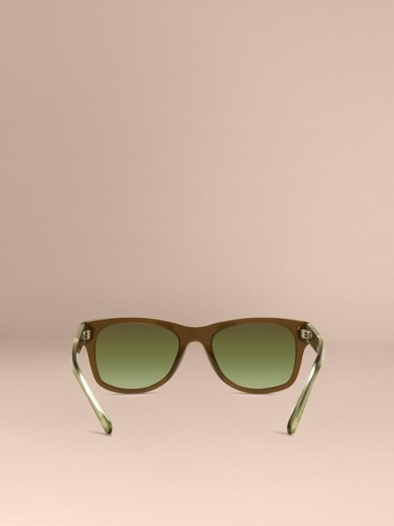 Verde oliva Óculos de sol com armação quadrada e detalhe xadrez Verde Oliva - cell image 3