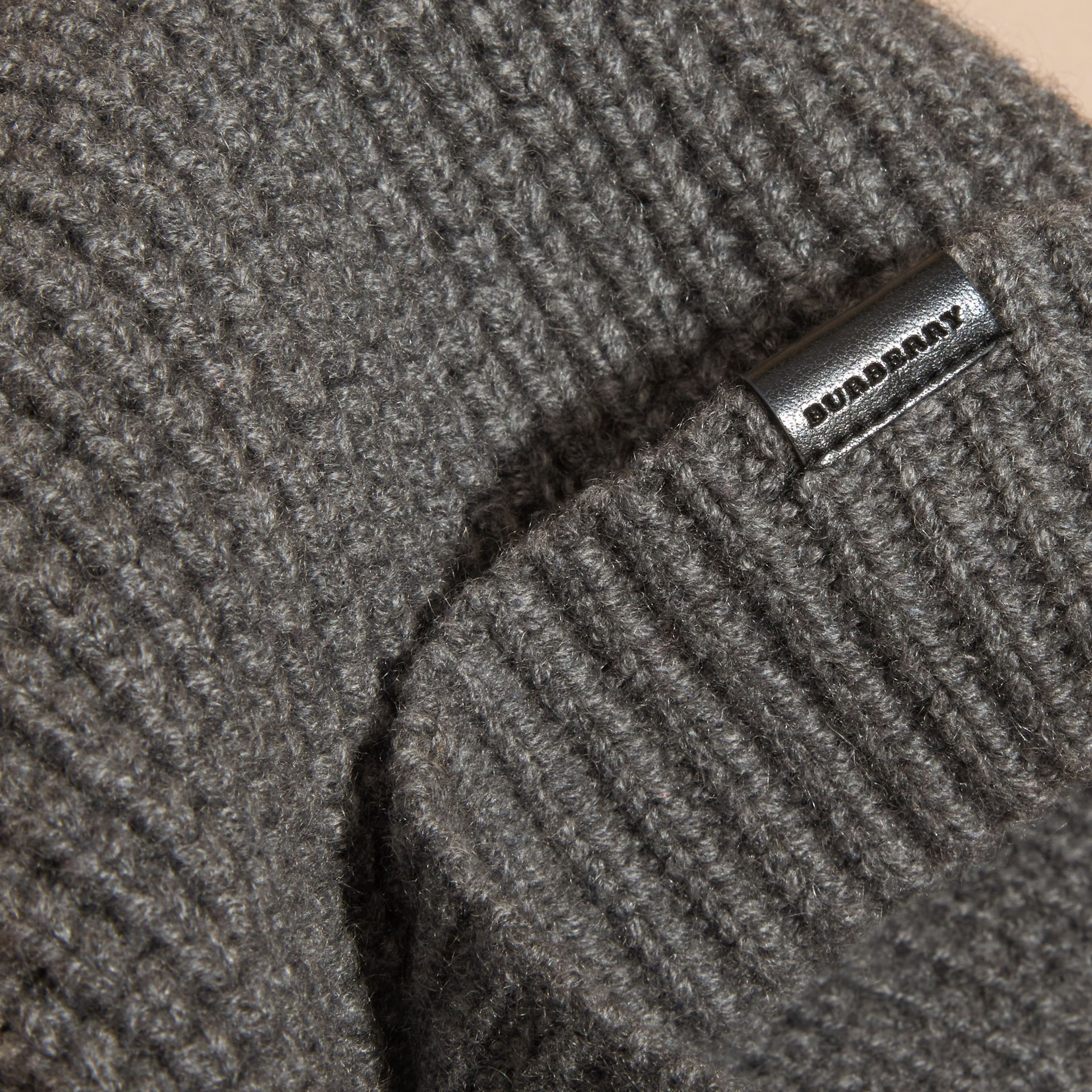 Cashmere Blend Waffle Knit Beanie in Mid Grey | Burberry - gallery image 3
