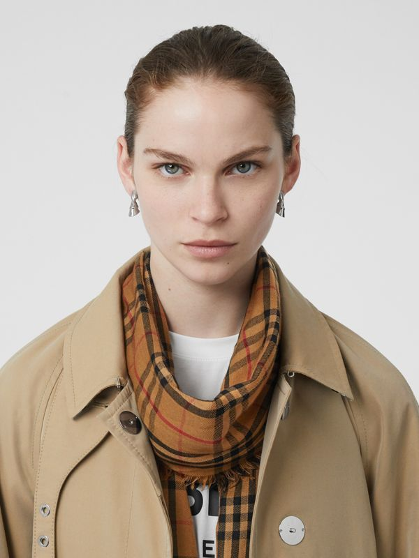 Embroidered Vintage Check Lightweight Cashmere Scarf in Camel | Burberry Canada - cell image 2