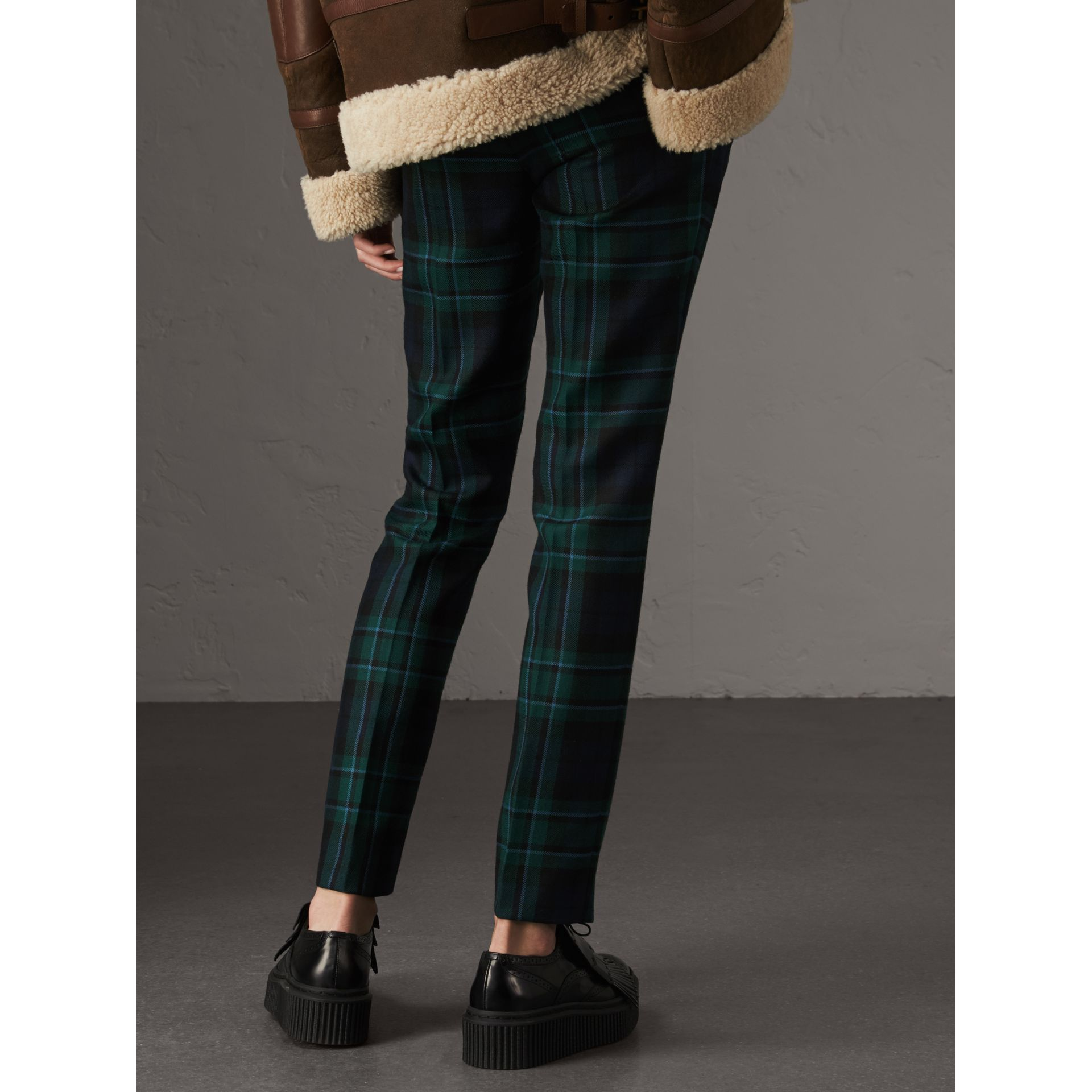 Tartan Wool Tailored Trousers in Pine Green - Women | Burberry United Kingdom - gallery image 3