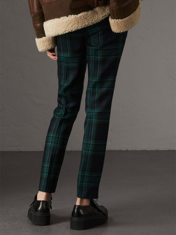 Tartan Wool Tailored Trousers in Pine Green - Women | Burberry - cell image 2
