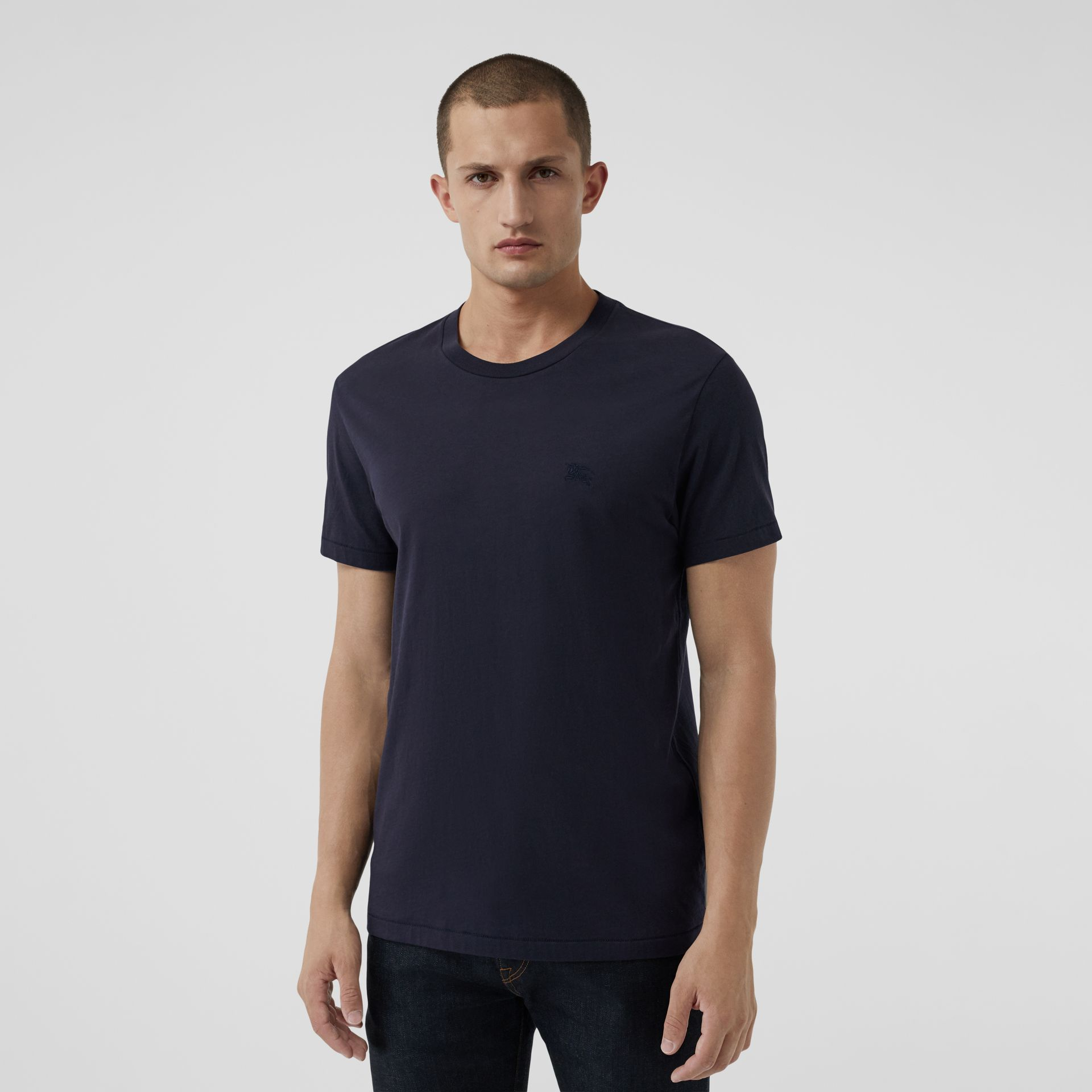 Cotton Jersey T-shirt in Navy - Men | Burberry - gallery image 0