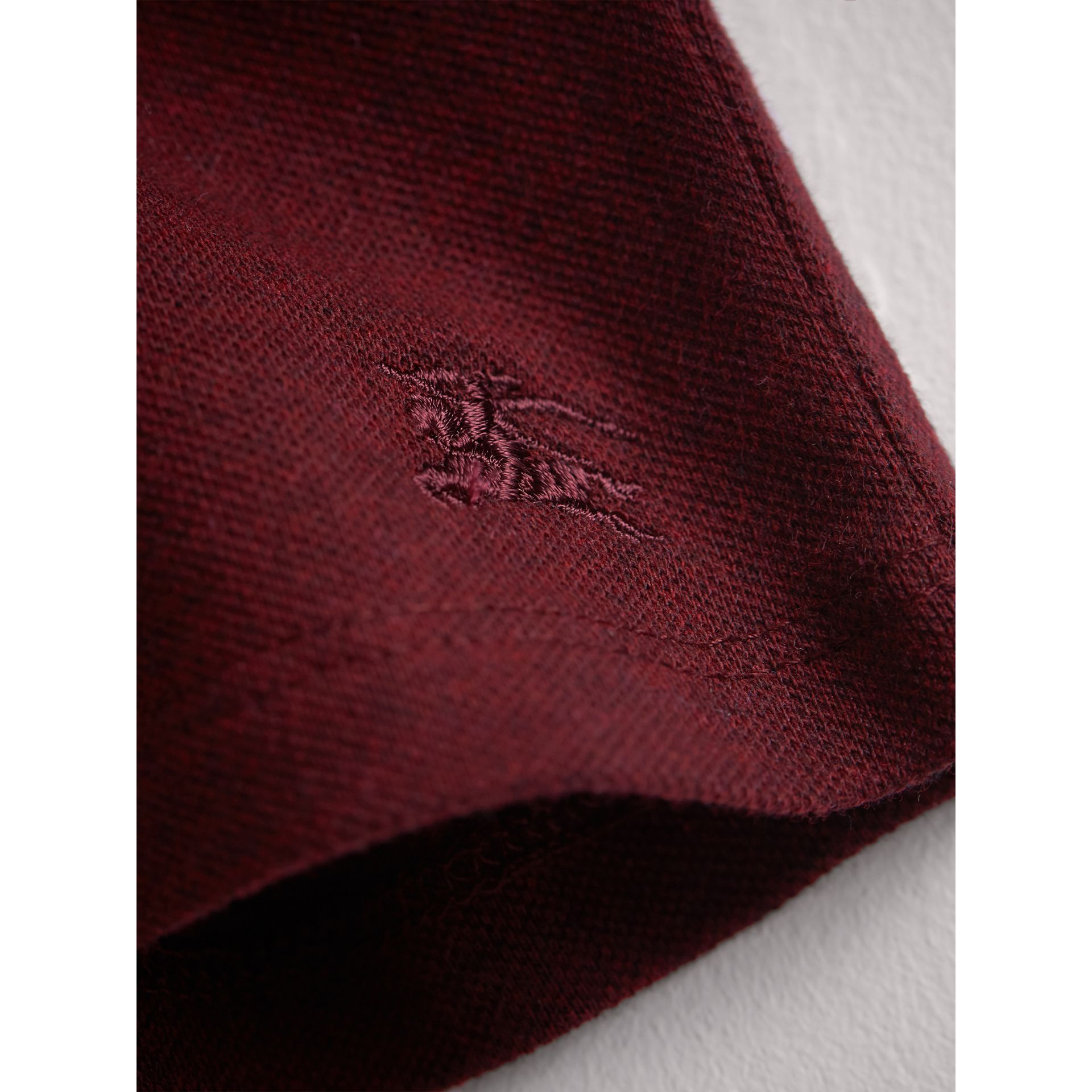Check Detail Cotton Piqué Shirt Dress in Burgundy Melange | Burberry - gallery image 2