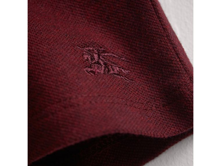Check Detail Cotton Piqué Shirt Dress in Burgundy Melange | Burberry - cell image 1