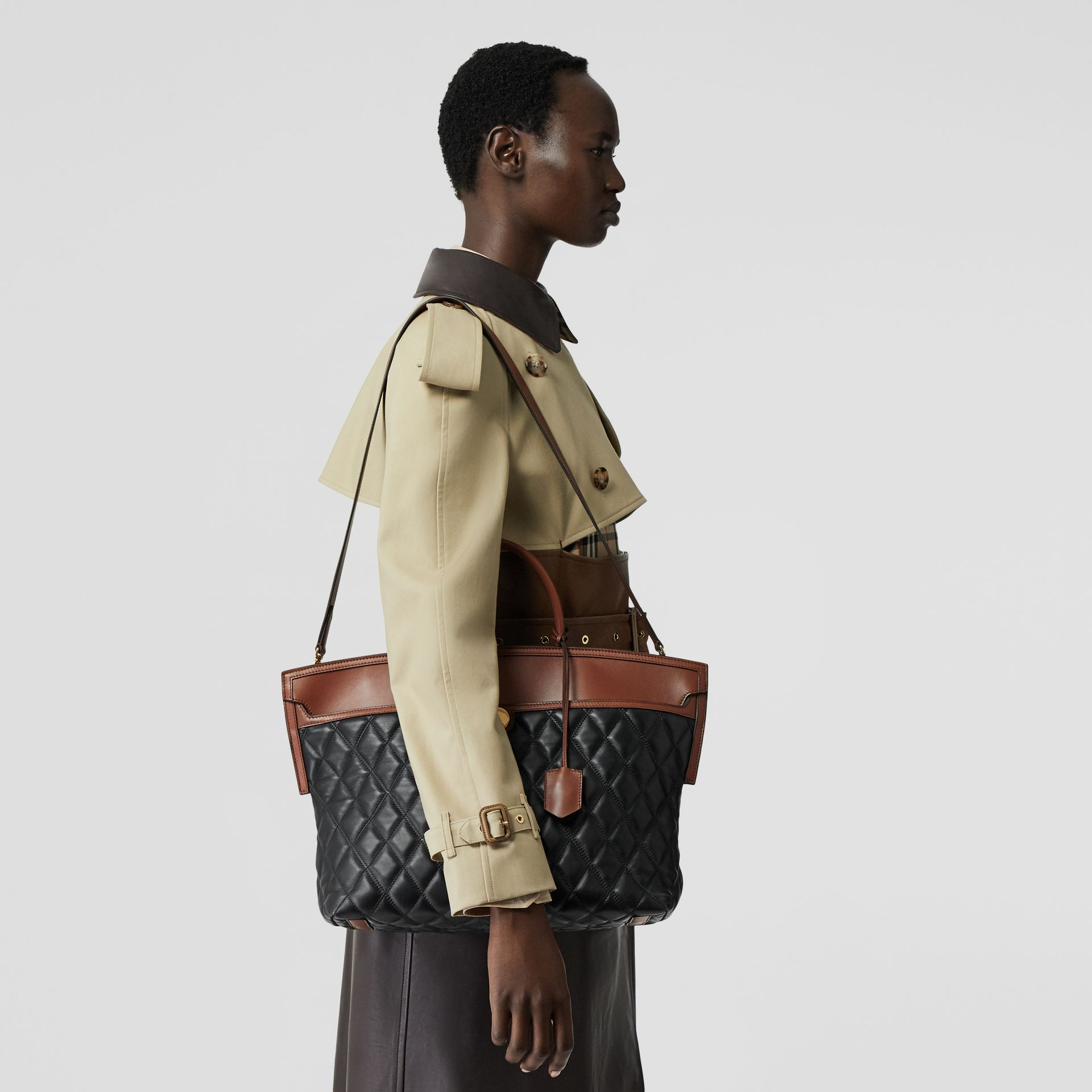 Quilted Lambskin Society Top Handle Bag in Black/brown - Women | Burberry United Kingdom - gallery image 2
