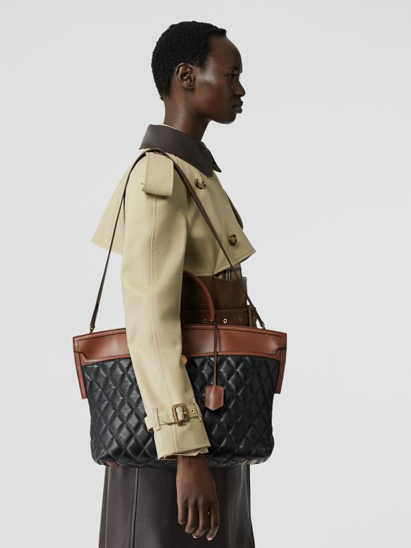 Quilted Lambskin Society Top Handle Bag in Black/brown - Women | Burberry United Kingdom - cell image 2