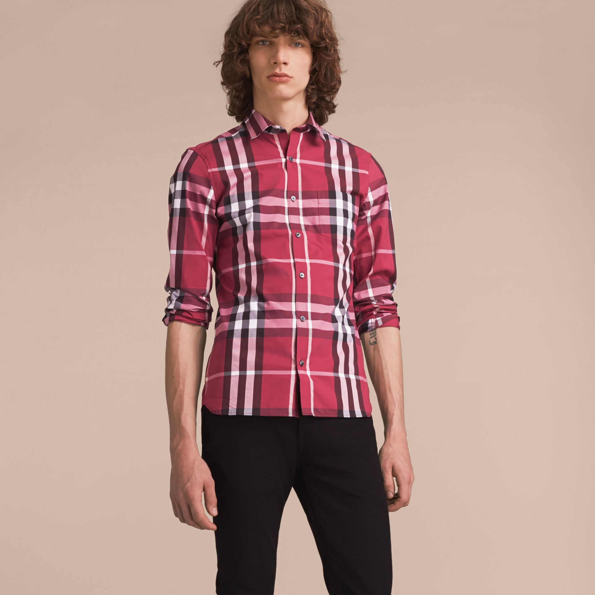 Check Stretch Cotton Shirt in Plum Pink - Men | Burberry Canada - gallery image 6
