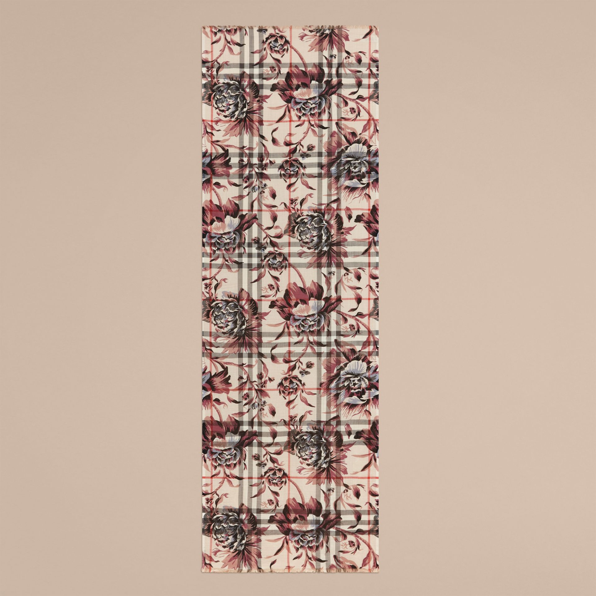 Peony Rose Print Check Wool Silk Scarf in Stone/ash - gallery image 4