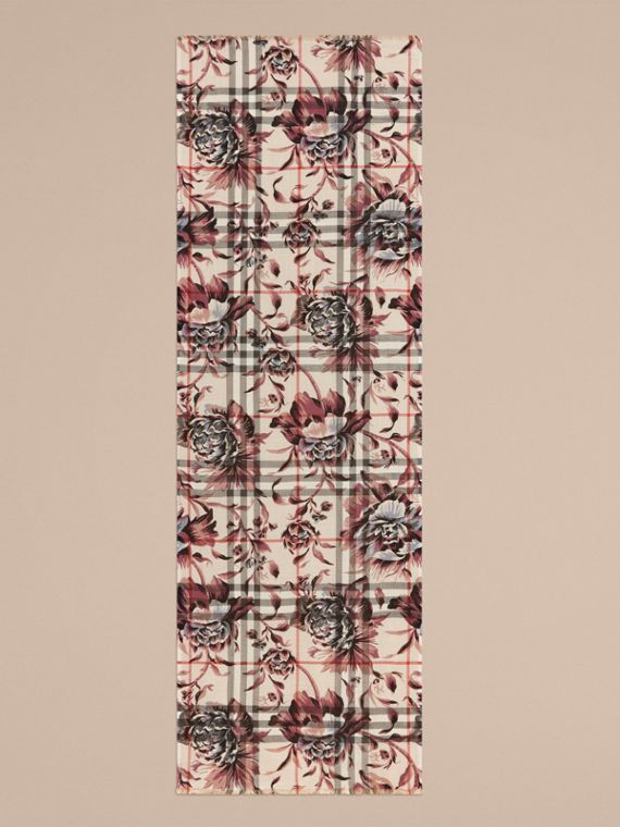 Peony Rose Print Check Wool Silk Scarf in Stone/ash - cell image 3