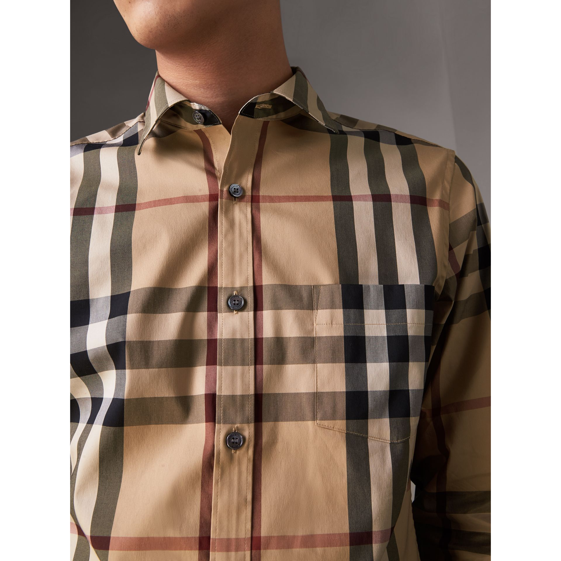 Check Stretch Cotton Shirt in Camel - Men | Burberry - gallery image 2