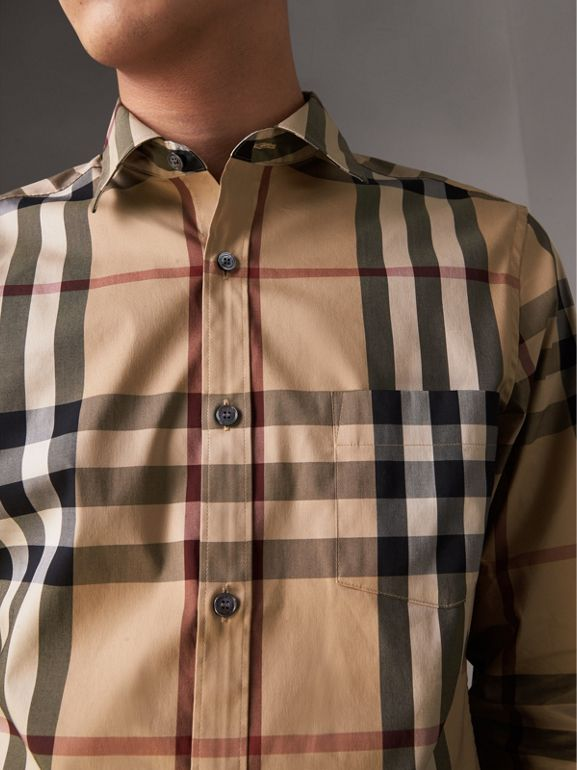 Check Stretch Cotton Shirt in Camel - Men | Burberry Singapore - cell image 1