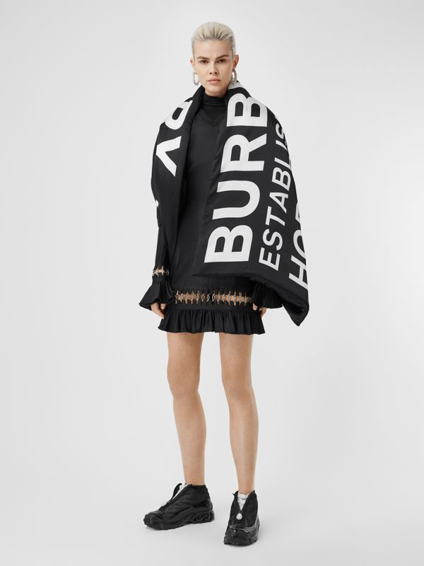 Horseferry Print Silk Puffer Scarf in Black/white | Burberry - cell image 2