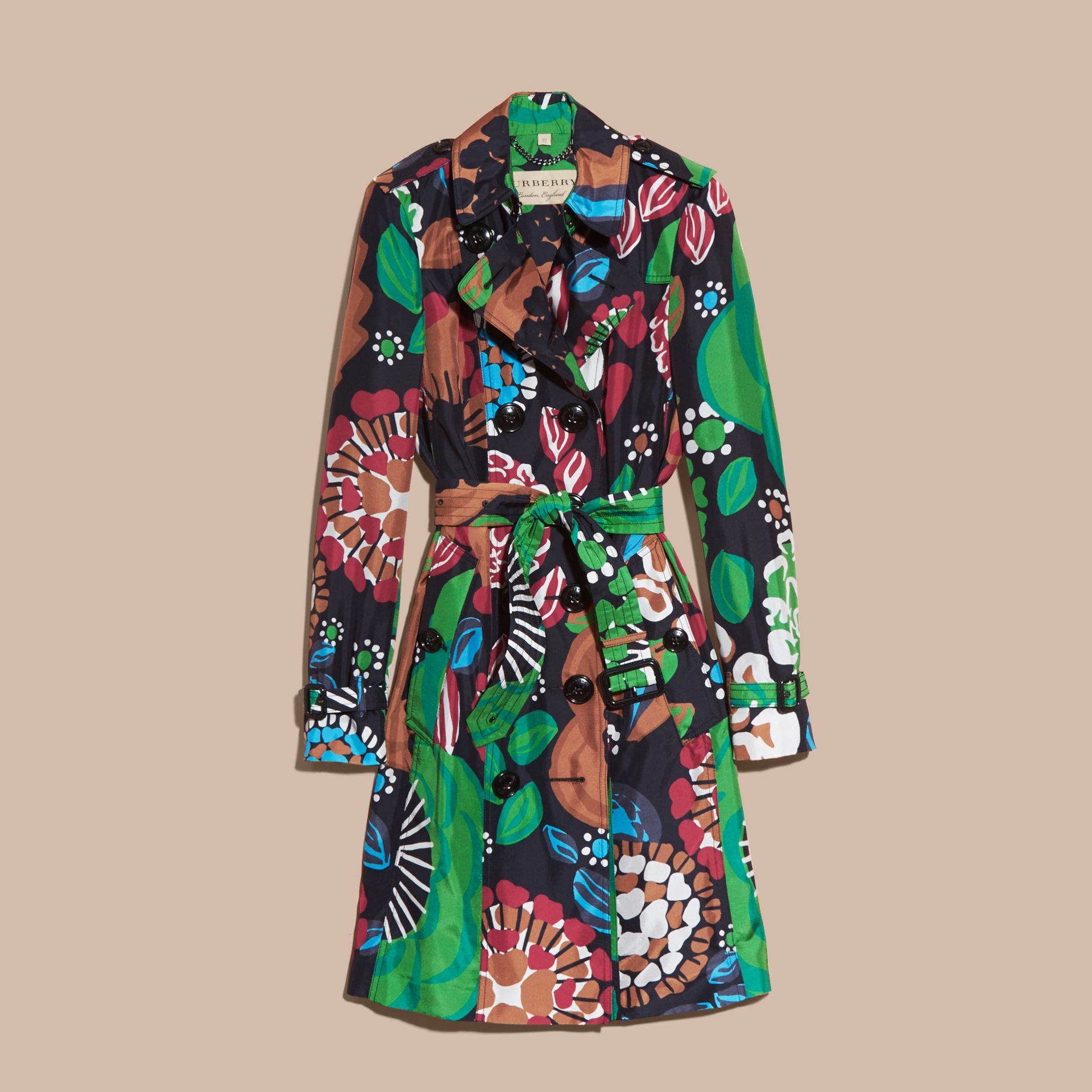 Deep navy Floral Print Silk Trench Coat - gallery image 4