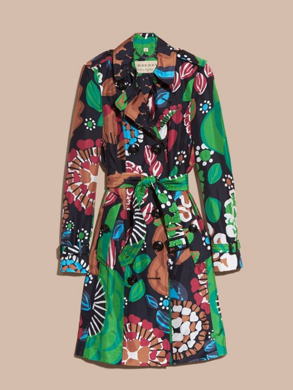 Deep navy Floral Print Silk Trench Coat - cell image 3