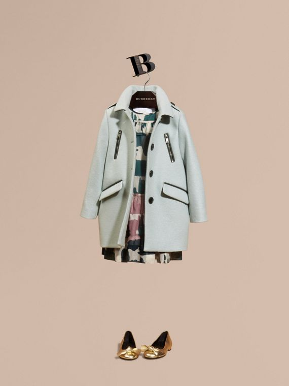 Zip Detail Wool Coat Pale Eucalyptus