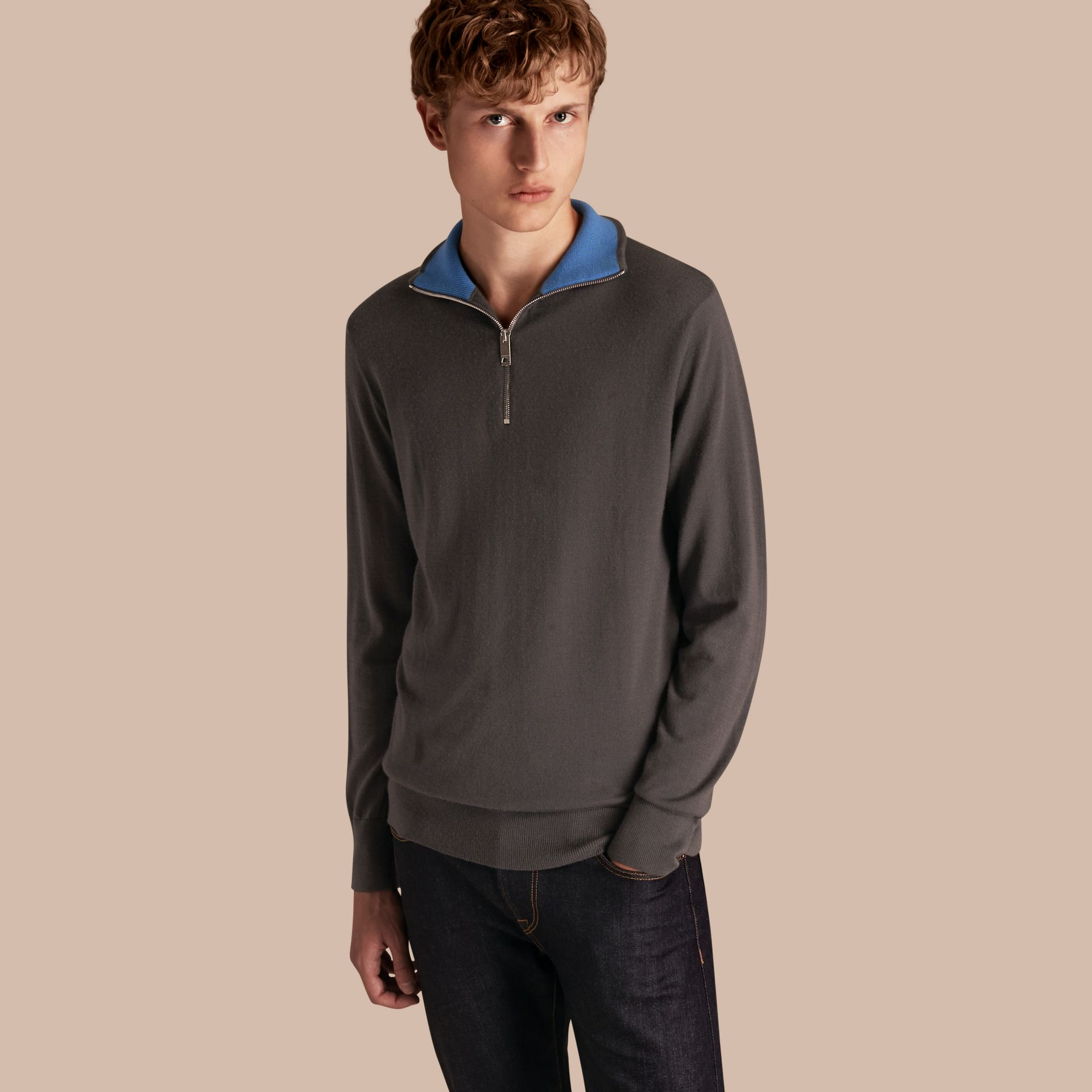 Zip-collar Cashmere Sweater in Mid Grey Melange - Men | Burberry - gallery image 1