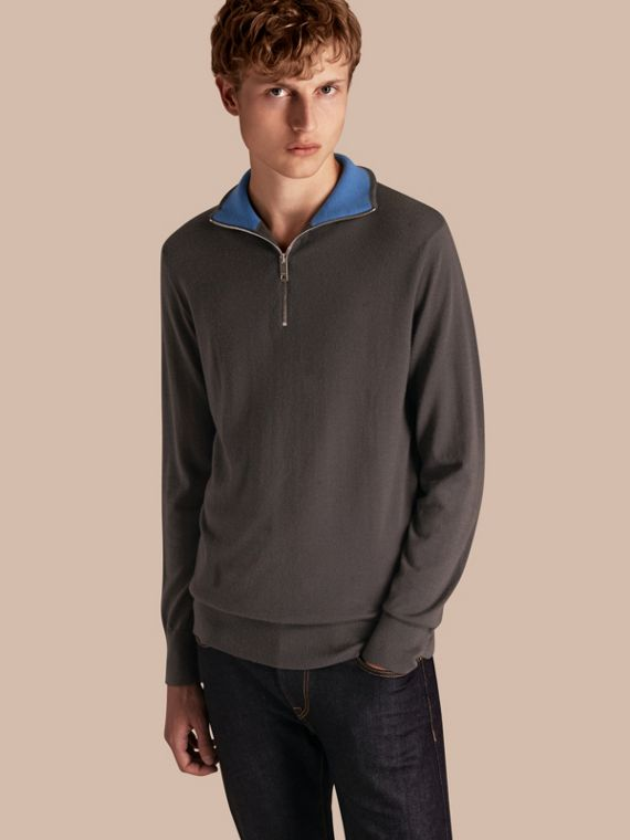 Zip-collar Cashmere Sweater in Mid Grey Melange