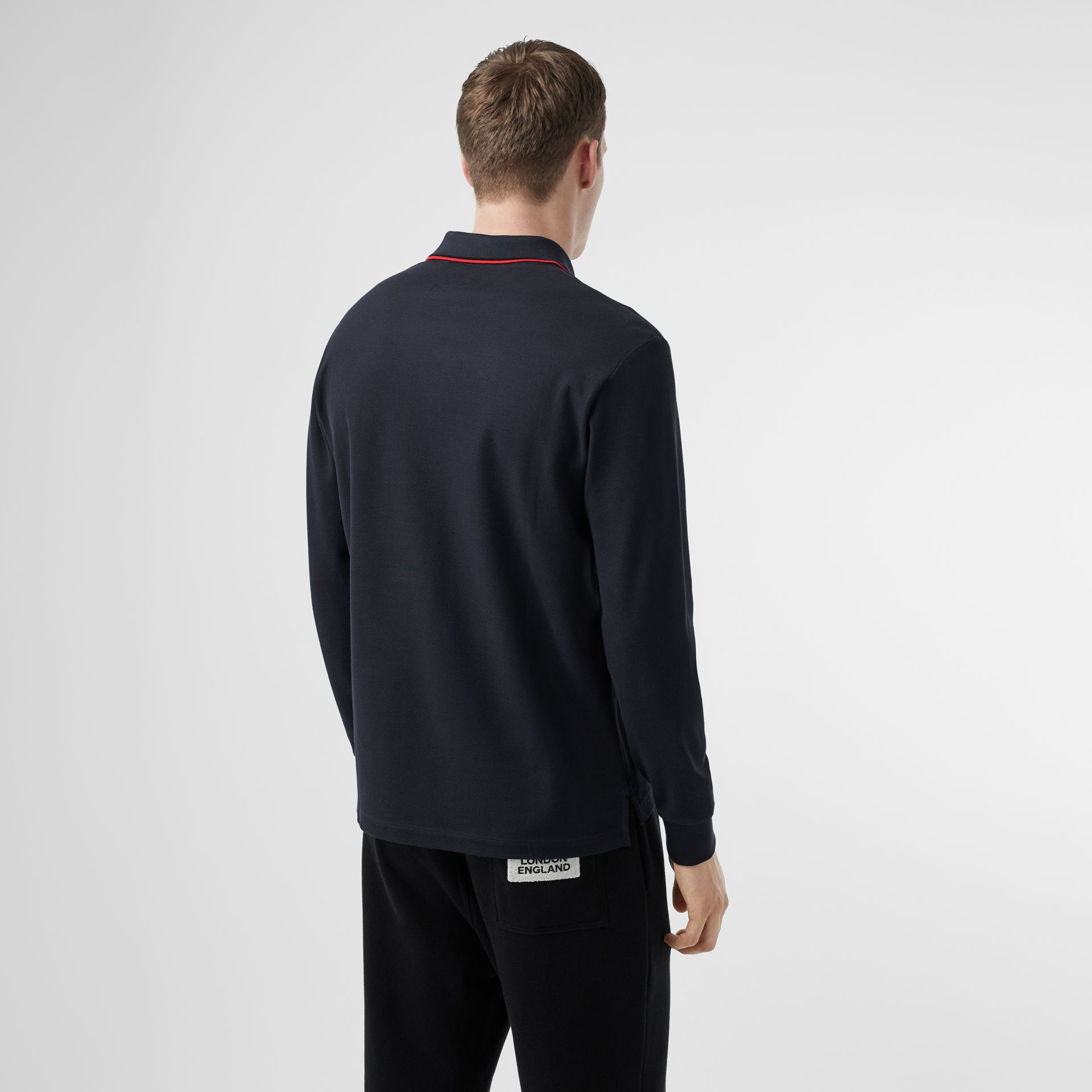Long-sleeve Monogram Motif Cotton Piqué Polo Shirt in Navy - Men | Burberry Hong Kong S.A.R - gallery image 2