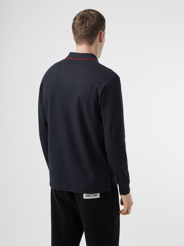 Long-sleeve Monogram Motif Cotton Piqué Polo Shirt in Navy - Men | Burberry Hong Kong S.A.R - cell image 2