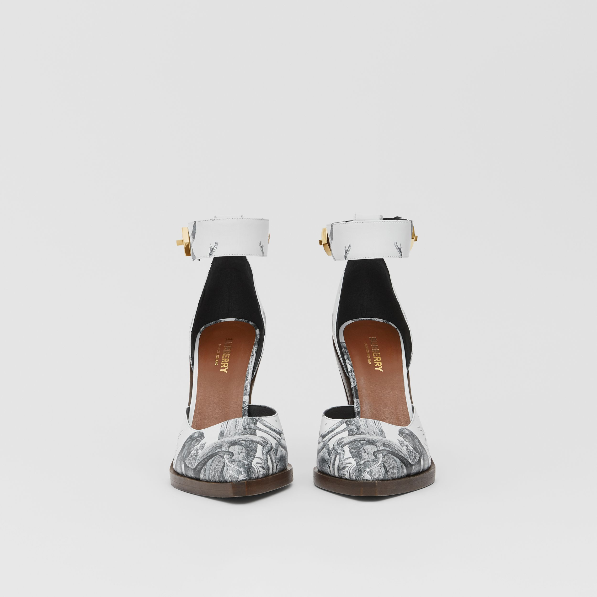 Monkey Print Leather Point-toe Pumps in Black/white - Women | Burberry - 3