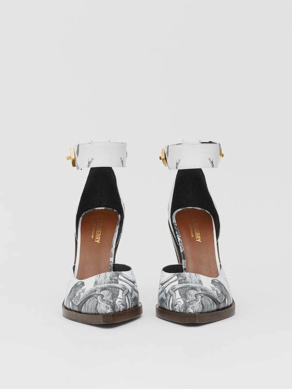 Monkey Print Leather Point-toe Pumps in Black/white - Women | Burberry - cell image 3